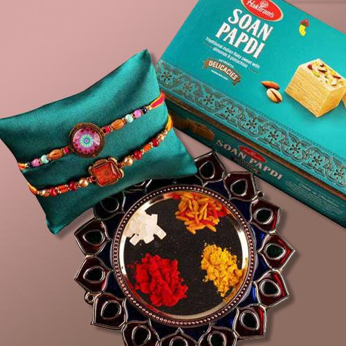 Traditional Rakhi Thali with 2 Fancy Rakhis and Soan Papdi