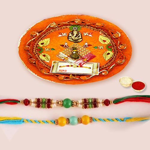 Gorgeous Rakhi Thali with 2 Rakhis, Roli Chawal N Rakhi Card