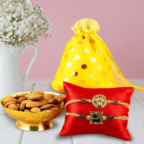 Nutritious Almonds Pack, 2 Rakhis, Free Roli Chawal and Wishes Card