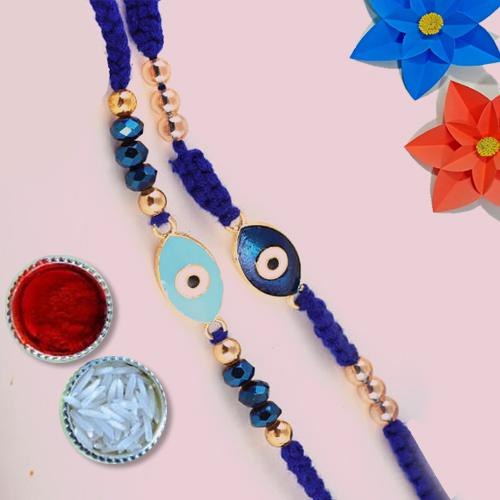 Desirable Gift of 2 Rakhis with Free Roli Chawal and Wishes Card