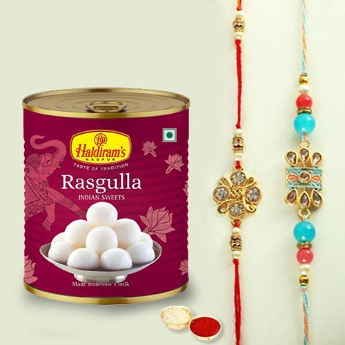 Delightful Set of 2 Rakhis, Rasgulla N Roli Chawal, Rakhi Card