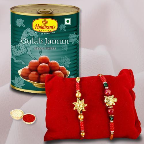2 Attractive Rakhis, Free Roli Tika N Rakhi Card with Gulabjamun