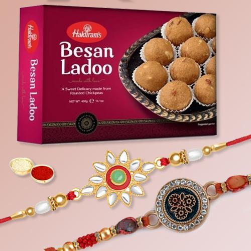 Fantastic Set of 2 Rakhis, Besan Laddoo, Free Rakhi Card N Roli Tika