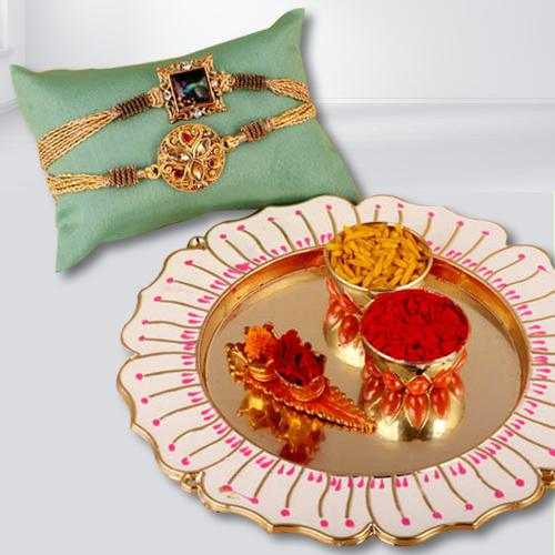 Traditional Thali with 2 Rakhi Set, Free Roli Chawal N Rakhi Card