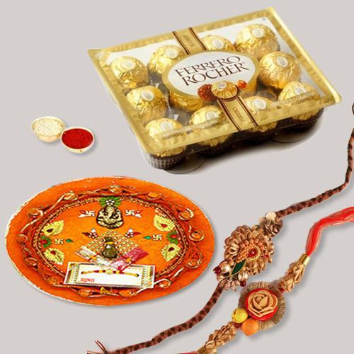 Traditional Thali with 2 Rakhis, Roli Tika N Ferrero Rocher
