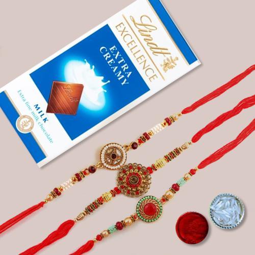 Impressive Set of 3 Rakhis N Lindt Chocolate, Card, Free Roli Chawal