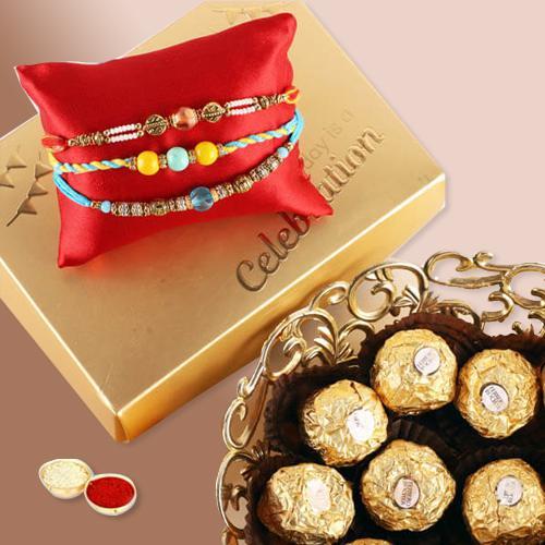 Ecstatic Ferrero Rocher, 2 Rakhis, Free Roli Chawal N Message Card