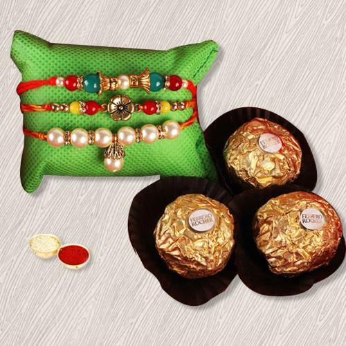 Flattering Gift of Ferrero Rocher, 3 Rakhis, Free Roli Tika, Rakhi Card