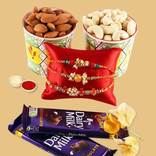 Ravishing Set of 3 Rakhis, Mixed Dry Fruits N Cadbury Chocolate