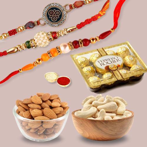 Dazzling Gift of 3 Rakhis, Dry Fruits N Rocher Chocolates
