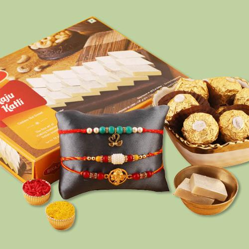 Ravishing Set of 3 Rakhis, Ferrero Rocher N Kaju Katli