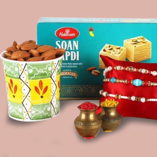 3 Lovely Rakhis, Soan Papdi, Almonds, Rakhi Card N Roli Chawal