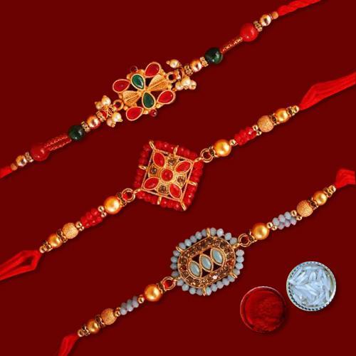 3 Beautiful Rakhis, Sacred Roli Chawal Tilak N Free Rakhi Card