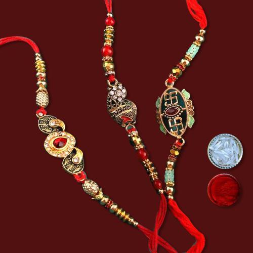 3 Fabulous Rakhis with Sacred Roli Chawal Tika N Free Message Card