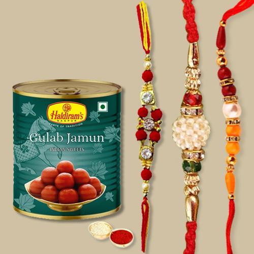 Tempting Gulabjamun Pack, 3 Rakhis, Free Roli Chawal N Rakhi Card
