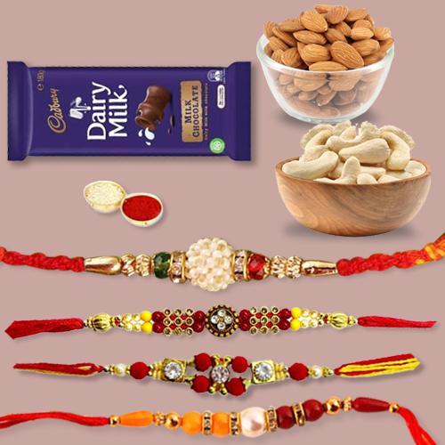 Impressive Set of 4 Rakhis, Dry Fruits Mix N Chocolates