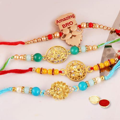 4 Decorative Rakhis, Free Roli Chawal N Message Card