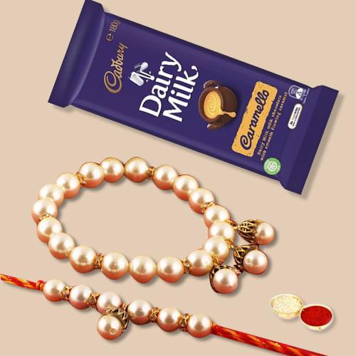 Classy Gift of Lumba Rakhi Pair N Cadbury Dairy Milk Bar