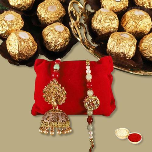 Fancy Lumba Rakhi Pair N Ferrero Rocher Gift Combo