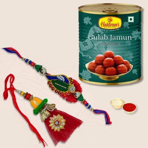 Stylish Rakhi Lumba Pair N Yummy Gulabjamun Pack
