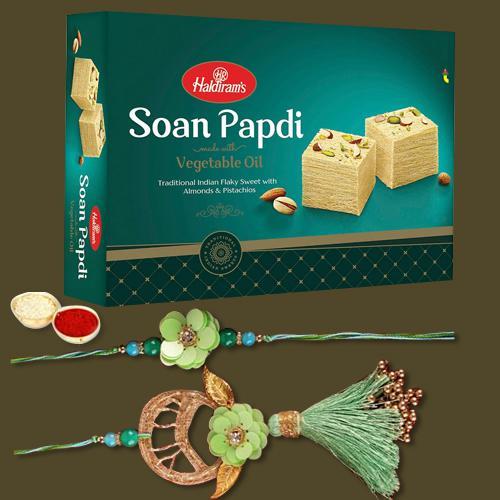 Impressive Set of Rakhi Lumba Pair N Soan Papdi Pack