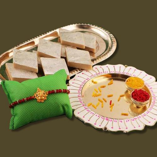 Decorative Thali N Kaju Katli with Rakhi, Free Roli Chawal N Card