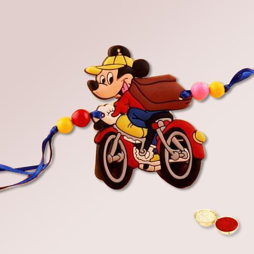 1 Fancy Kids Design Rakhi, Free Roli Chawal N Message Card