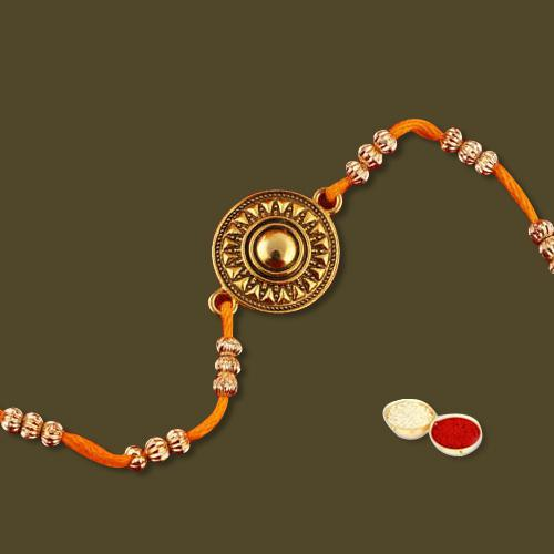 Attractive Combo of Rakhi, Wishes Card N Free Roli Chawal Tika