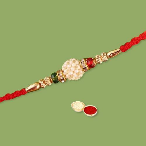 Appealing Gift of Rakhi Thread, Free Roli Chawal N Wishes Card