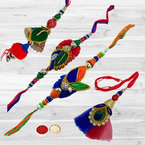 Attractive Colorful Rakhi Set for Bhaiya Bhabhi