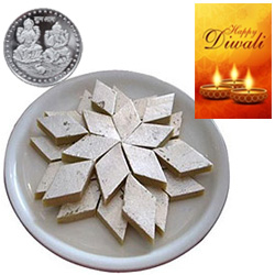 Flavorous Kaju Katli With Silver Plated Coin And Diwali Card
