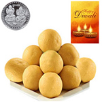 Scrumptious Besan Laddoo With Silver Plated Coin And Diwali Card