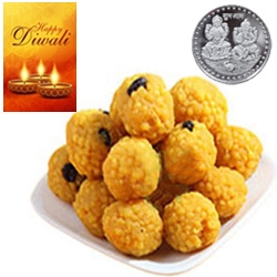 Piquant Bundi Laddoo With Silver Plated Coin And Diwali Card