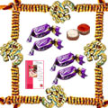 Eye-Catching OM Rakhi with Chocolates and Message Card for Unforgettable Moments