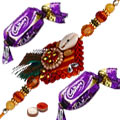 Celebration Special Zardozi Rakhi with 2 Chocolates