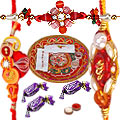 Graceful Thali with Delectable Chocolates and Rakhi