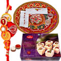 Refreshing Thali with Haldirams Soan Papdi and 2 Rakhis