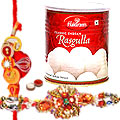 Attractive Rakhi with Haldiram Rasgulla Gift Set