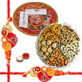 Beautifying Gifts of 250 Gms of Delicate Dry Fruits with Designer Thali and One Rakhi