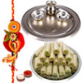 Silver Thali with Assorted Roll with One Rakhi