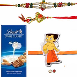 Heart Winning Family Rakhi Set N Lindt Swiss Chocolate