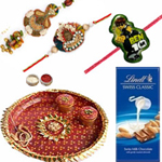 Impressive Combo of Family Rakhi Set With Rakhi Thali N Lindt Chocolate
