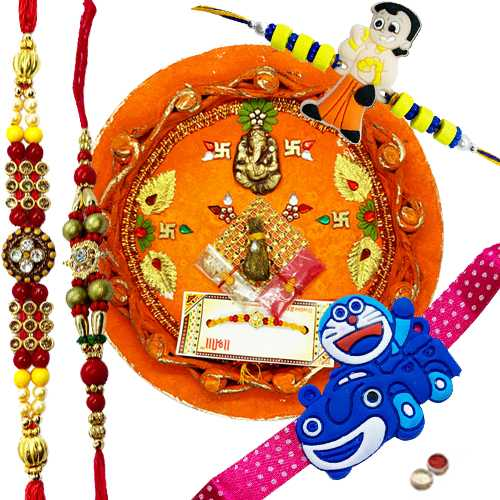 Lovely 2 Bhaiya N Kid Rakhi Set With Rakhi Thali