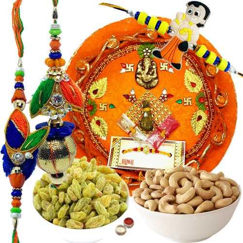 Ultimate Combo of 2 Rakhi N 1 Kid Rakhi, Rakhi Thali, Hersheys Chocolate, Raisins N Cashew