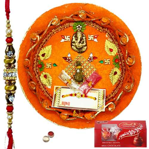 Blessed Rakhi Combo of 1 Rakhi With Rakhi Thali N Lindt Chocolate