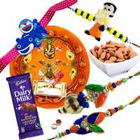 Outstanding Rakhi Combo Of Rakhi Thali With Family Rakhi Set, Cadbury Chocolate N Almonds