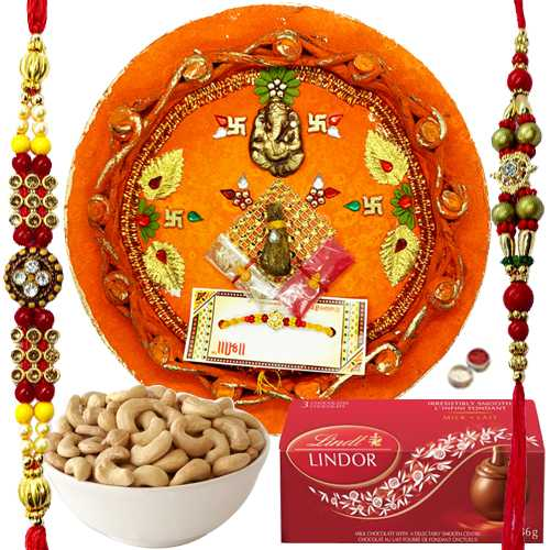 Captivating Combo of Rakhi Thali, 2 Rakhi, Cashew N Lindt Chocolate