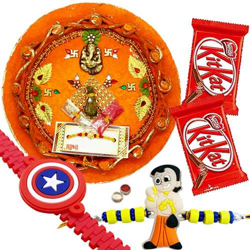 Charming Rakhi Thali ,Kid Rakhi with Kitkat Chocolate