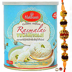 Attractive Rakhi & Toothsome Haldiram Rasmalai.
