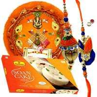 Graceful Bhaiya Bhabhi Rakhi, Pooja Thali And Haldiram Soan Cake